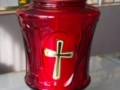 Candela rosu transparent cu cruce