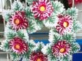 Coroana artificiala stil grecesc cu gerbera rosie