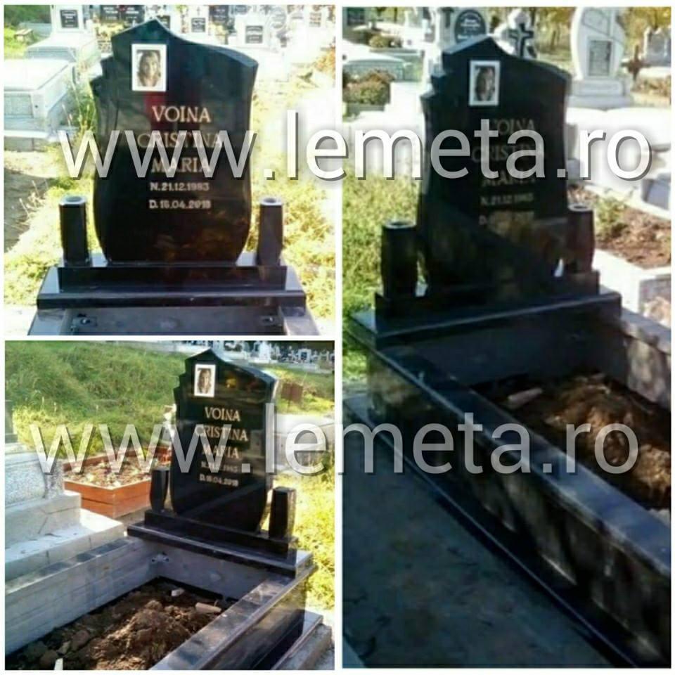 Cadru si monuemnt funerar din granit negru + litere din bronz, poza ceramica
