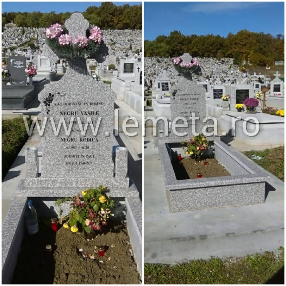 Cadru si monument funerar din granit maroniu, gravat
